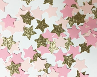 Pink+Gold Star Confetti//confetti, party supplies, party decorations, table decorations, birthday party, baby shower, wedding, bachelorette