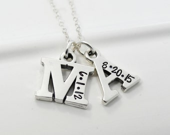 Mother's Necklace Initial Hand Stamped with Birth Dates | Stamped Initial Jewelry