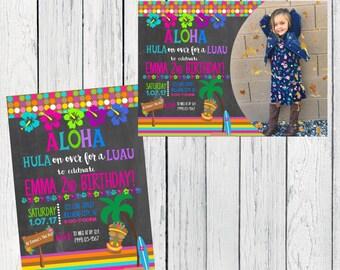 Luau Party - Chalkboard Personalized  birthday invitation- ***Digital File*** (Aloha-2017Chlk)