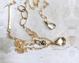 Double Strand Gold Necklace - Herkimer Diamond Necklace - 14kt Gold Necklace - Dainty Gold Necklace - Quartz Necklace - Long Short Necklace