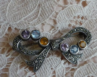 Vintage Silver 925  Bow  Brooch