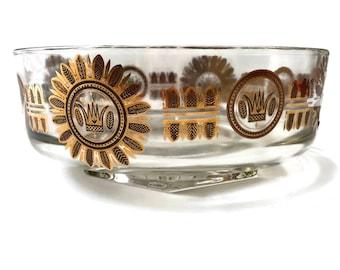 Vintage 1960s Georges Briard Regalia glass serving salad bowl, modernist design gilt details, stylized floral and crown design