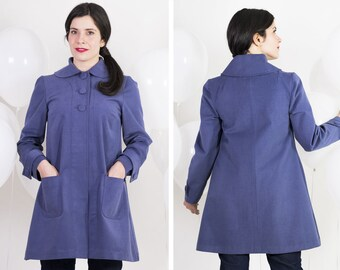 1950s trench coat - Retro spring coat with pockets and peter pan collar - Women overcoat in cotton twill - Vintage inspired trench coat