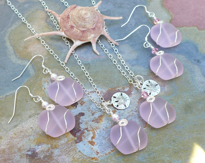 Beach Glass Necklace, Earrings, Blossom Pink Sea Glass Necklace with Sea Theme Charms, Beach Weddings, Bridesmaid Necklace, Pink Sea glass