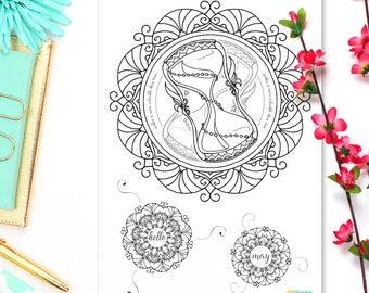 Hello May Coloring Sticker • Hourglass Sticker • Bullet Journal Sticker • Hourglass Coloring Page • Bohemian Sticker • Mandala Sticker