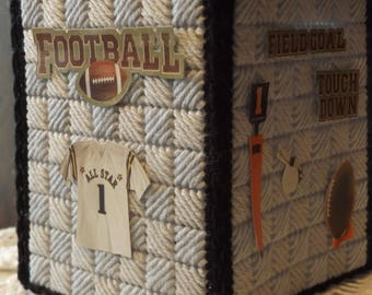 Football -  Father's Day - Tissue box cover - handmade - plastic canvas - boutique size