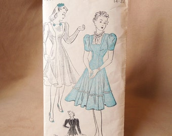 Vintage 40's Dress Pattern, New York Pattern, Vintage Size 14 - 32, Two Dress Styles with Full Skirt, Swing Dress