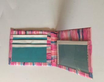 Pink Stripped Duct Tape Bifold Wallet