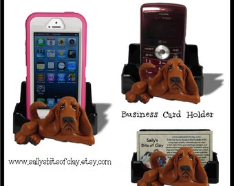 Red Bloodhound Dog Holder for Cell Phone IPod IPhone or Business Cards OOAK by Sally's Bits of Clay