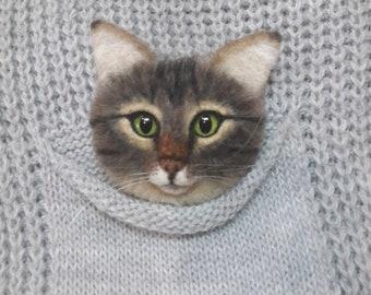 woolen brooch handmade toys cat jewelry felting