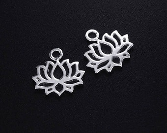 2 of 925 Sterling Silver Lotus Charms 8x11.5mm.  polish finished :tm0137