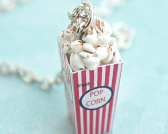 popcorn necklace- miniature food jewelry, food necklace