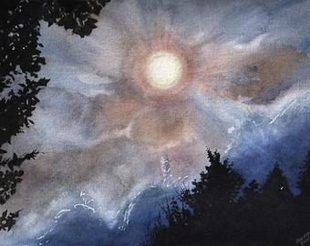 Full Moon Watercolor Print- Midnight Sky- Sky Watercolor- Dark Blue, Pink, White- 5x7