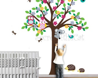 Wall Decals Nursery. Nursery wall decal. Tree and Owl Decals. Children wall decal. Colorful tree decal. Nursery Tree Decal. Nursery decals