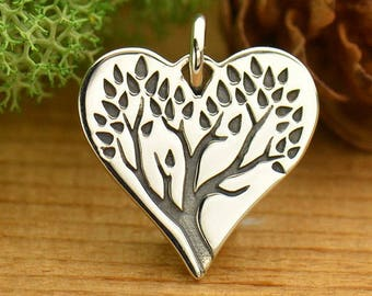 Sterling Silver Tree of Life Heart Charm