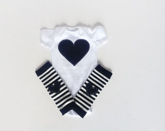 Heart Bodysuit and Heart Leg Warmers, Any Color, Valentine's Day Baby, Rainbow Heart