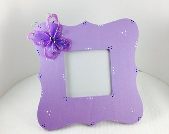 Mothers day picture frame- Mothers day gift-Picture frame for kids-Purple Butterflies picture Frame, Butterfly Art, Butterfly Decor,