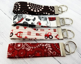 Key Wristlet - Key Fob - Key Ring - Vera Bradley style - Red & Black Collection - Gift for Teacher, Mom, Best Friend, Dog Mom, Pet Sitter