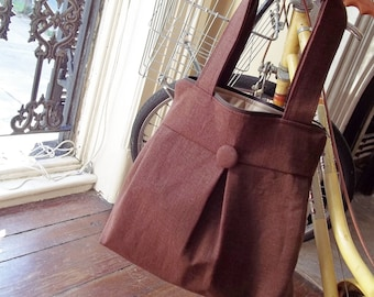 Brown Diaper Bag - Zippered Top - 6 pockets - Key Fob