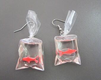 Gold Fish Earrings, Fish in Bag Earrings, Resin Fairground Gold Fish, Fairground Prize Goldfish, Carnival Fish in a Bag Earrings