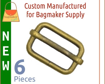 3/4 Inch Moving Bar Slide, Antique Gold / Light Antique Brass Finish, 6 Pieces, .75 Inch Movable Bar Slide, Purse Handbag Making, SLD-AA108