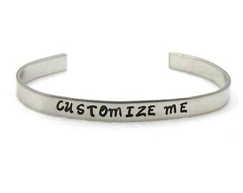 Customized Bracelet Cuff, Personalized Bracelet Cuff, Aluminum Cuff, Custom Cuff, Hand Stamped Cuff, Best Friends Cuff, Personalized Cuff