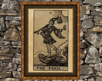 Tarot Fool card print, aged poster, Taro wall decor, Occult print, Fool print, tarot poster, tarot print
