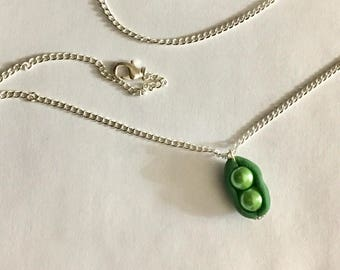 Two peas in a pod charm bead pendant with Swarovski crystals