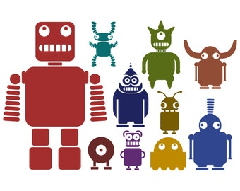 Multicoloured Robot Wall Stickers