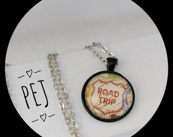 Roadtrip, Cabochon, Pendant,gifts for her,jewelry,glass