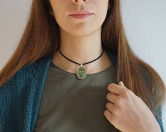 Nature choker Terrarium jewelry Resin terrarium necklace Moss jewelry Moss pendant Real moss necklace Lichen jewelry Sustainable jewelry