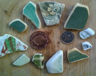 Irish Sea Pottery ~ bulk mixed green white pieces ~ jewellery making ceramic, mosaic, art beach craft charms pendants