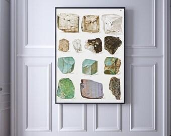 Minerals, printable art, printable decor, digital print, vintage posters, Gems, vintage prints, 8x10, stones, minerals wall decor