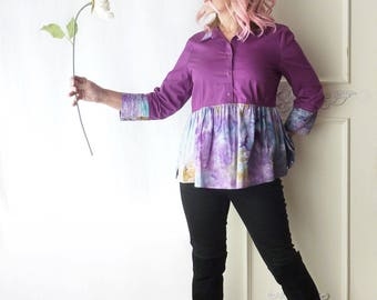 Babydoll top, Empire waist, size 14, boho top, indie, 3/4 length sleeve, Magenta, Ice dyed artsy top, festival top, violet, all cotton, OOAK
