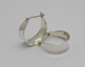 """Forged Anticlastic Silver Hoop Earrings 3/4"""" diameter"""