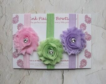 Shabby Chic baby headband set. baby girl headbands. newborn headbands. baby headbands. infant headband. baby hair accessories.