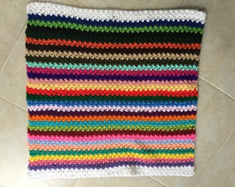 Baby Blanket of Many Colors      Handmade Crochet  Bean Stitch    NEW