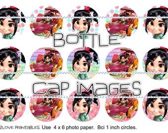 "Vanelope Sugar Rush printable 4x6 - 1"" circles, bottle cap images, stickers instant download Wreack it Ralph Vanelpoe"