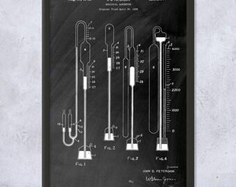 Framed Mercurial Barometer Art Print Gift, Meteorology Art, Quicksilver, Meteorology, Meteorologist, Weather, Science, Atmosphere, Pressure