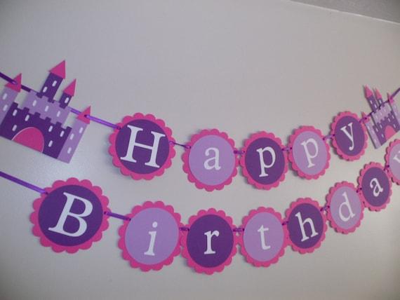Attractive Happy Birthday Princess Castle Birthday Banner Purple Banner WX09