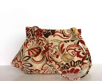 Shoulder strap purse Women bag Vegan fabric purse Handmade handbag  women floral  shoulder bag  day bag  shoulder purse   office fashion bag