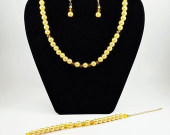 Beautiful Sun-kissed Pearl and Amber Crystal Choker Necklace set