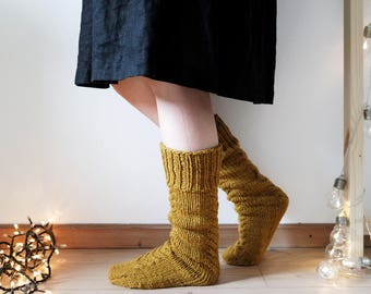 Autumn Goals Socks, Bed Socks, Rustic Home Socks made with Ecological Wool