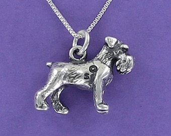 SCHNAUZER Dog Necklace - 925 Sterling Silver - on Gift Card with Heartwarming Quote