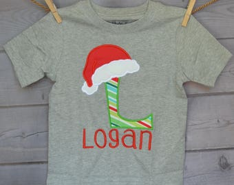 Initial with Santa Hat Applique Shirt or Bodysuit Boy or Girl