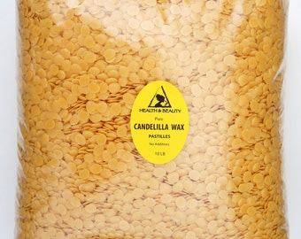 10 Lb CANDELILLA WAX Flakes Organic VEGAN Pastilles Beards Premium Prime Grade A 100% Pure