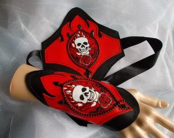 Fabric Cuffs, Gothic Cuff Bracelets, CyberPunk Cuff Bracelets, Cosplay, Costume, Halloween,Skulls,  Red, Black, Beaded, Pair