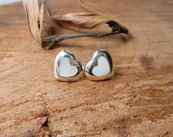 Modern Women Sterling Silver White Mother Pearl Heart Earrings,Mother Pearl Earring,Heart Earring,Shell Heart Earring,Gifts For Her