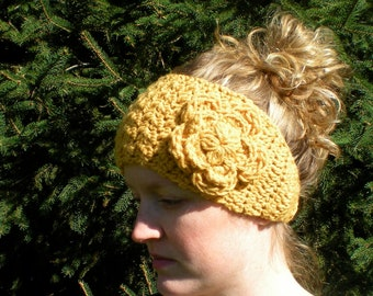 PATTERN: Flower Band, easy crochet P D F email, fall autumn fashion, boho chic, InStanT DowNLoaD, PERMISSION to SELL