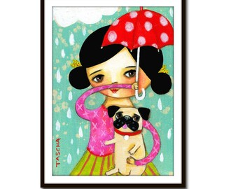 PRINT pug rainy day print SWEET pug and his mama in the rain with umbrella cute folk art dog painting print by Tascha